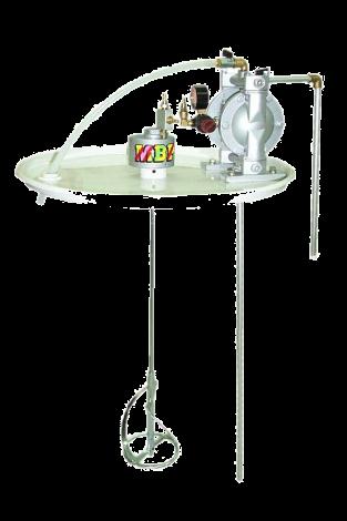 Conjunto de agitador neumático con bomba de membrana DP-100, montado sobre tapa para bidones de 200 litros E660 00